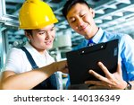 worker or production manager... | Shutterstock . vector #140136349