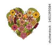 flower heart. heart made of... | Shutterstock .eps vector #1401395084