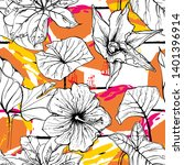 tropical  stripe  animal motif. ... | Shutterstock .eps vector #1401396914