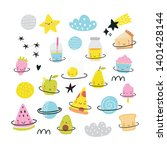 cute cartoon food in space... | Shutterstock .eps vector #1401428144