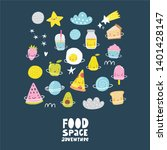 cute cartoon food in space... | Shutterstock .eps vector #1401428147