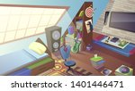 teenager room at daytime with... | Shutterstock .eps vector #1401446471