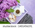 breakfast. a lilac tray with a... | Shutterstock . vector #1401456191