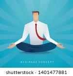 businessman sitting in lotus...   Shutterstock .eps vector #1401477881