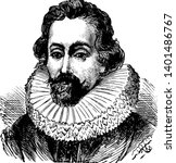 Sir Francis Drake, 1540-1596, he was an English sea captain, privateer, navigator, and civil engineer of the Elizabethan era, and first European visitor to Oregon, vintage line drawing or engraving