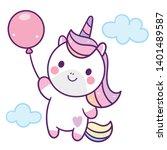 illustrator of cute unicorn... | Shutterstock .eps vector #1401489587