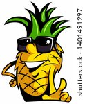 cartoon style pineapple with... | Shutterstock . vector #1401491297
