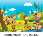 picnic in the woods  ... | Shutterstock . vector #140150137