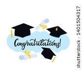 academic mortarboard with... | Shutterstock .eps vector #1401504317