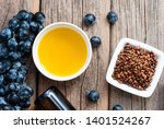 grape seed oil and grist on... | Shutterstock . vector #1401524267