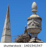 stork nesting in the spires of... | Shutterstock . vector #1401541547