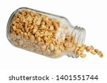 roasted peanuts in the glass...   Shutterstock . vector #1401551744