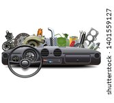 vector car dashboard with spare ... | Shutterstock .eps vector #1401559127