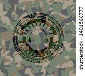 headphones icon on camouflage...   Shutterstock .eps vector #1401566777
