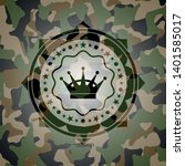 queen crown icon on camouflaged ...   Shutterstock .eps vector #1401585017