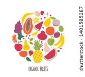 organic fruits hand drawn color ... | Shutterstock .eps vector #1401585287