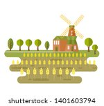 landscape with windmill and... | Shutterstock . vector #1401603794