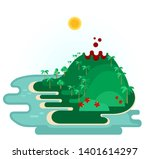 tropical island with volcano.... | Shutterstock . vector #1401614297