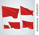 red vector flags. a set of 5... | Shutterstock .eps vector #140162107