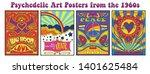 vintage psychedelic art posters ... | Shutterstock .eps vector #1401625484