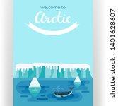 whale swimming between icebergs.... | Shutterstock . vector #1401628607