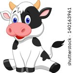 Stock vector cute baby cow cartoon 140163961