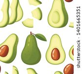 seamless pattern. fresh avocado ... | Shutterstock .eps vector #1401665351
