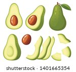 fresh avocado and slice of... | Shutterstock .eps vector #1401665354