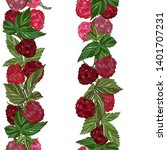 raspberry seamless pattern. ... | Shutterstock .eps vector #1401707231