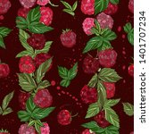 raspberry seamless pattern. ... | Shutterstock .eps vector #1401707234