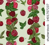 raspberry seamless pattern. ... | Shutterstock .eps vector #1401707237