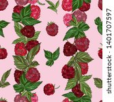 raspberry seamless pattern. ... | Shutterstock .eps vector #1401707597