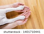 dog and owner handshaking or... | Shutterstock . vector #1401710441