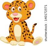 Stock vector cute baby leopard cartoon 140172571