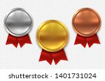 empty medals. blank round gold... | Shutterstock .eps vector #1401731024