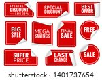 red stickers curled. wrapped... | Shutterstock .eps vector #1401737654