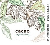 cacao template. vector nature... | Shutterstock .eps vector #1401753164