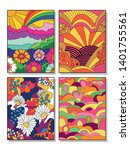 vintage posters set psychedelic ... | Shutterstock .eps vector #1401755561