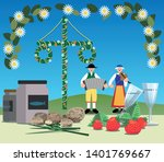 a typical swedish midsummer... | Shutterstock .eps vector #1401769667