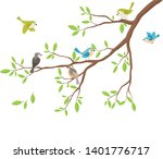cute birds with tree branch | Shutterstock .eps vector #1401776717