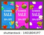 summer sale vertical banners... | Shutterstock .eps vector #1401804197