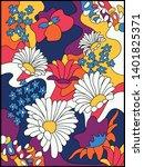 vector vintage psychedelic...   Shutterstock .eps vector #1401825371