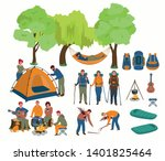 set of hiking people. tourists... | Shutterstock .eps vector #1401825464