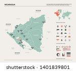 vector map of nicaragua.... | Shutterstock .eps vector #1401839801