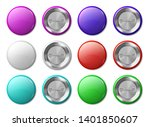 round badge mockup. realistic... | Shutterstock .eps vector #1401850607