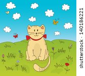 funny cat on the meadow vector...