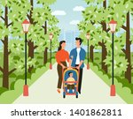 happy family with baby stroller ...   Shutterstock .eps vector #1401862811