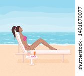 vector image  tanned woman... | Shutterstock .eps vector #1401870077