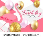 colorful cartoon pink flamingo... | Shutterstock .eps vector #1401883874