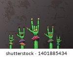 vector blue cartoon zombie rock ... | Shutterstock .eps vector #1401885434
